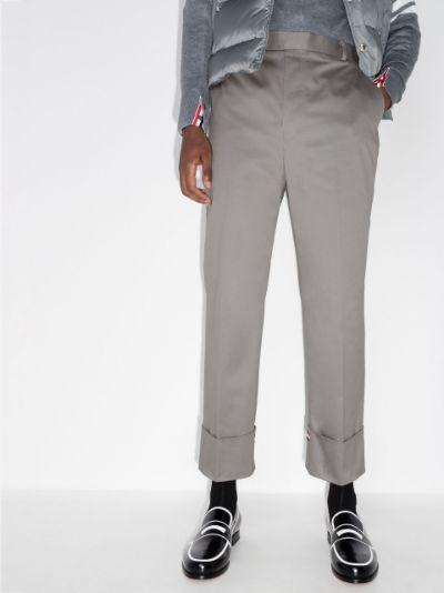 straight leg tricolour tab trousers