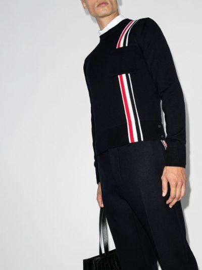 tricolour intarsia stripe jumper