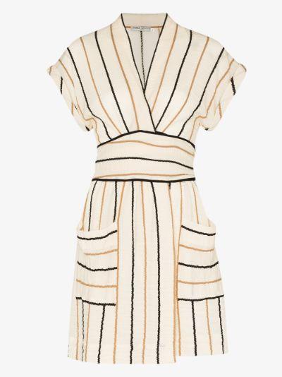 Aurora striped tie waist mini dress