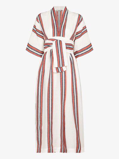 Charita striped linen wrap dress