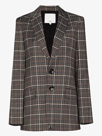 Checked button-up blazer