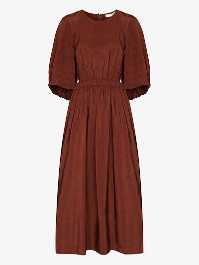 Gemma shirred waist cape dress