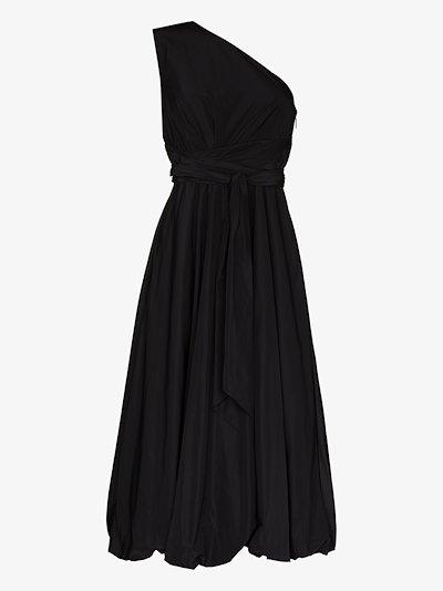 one shoulder belted midi dress