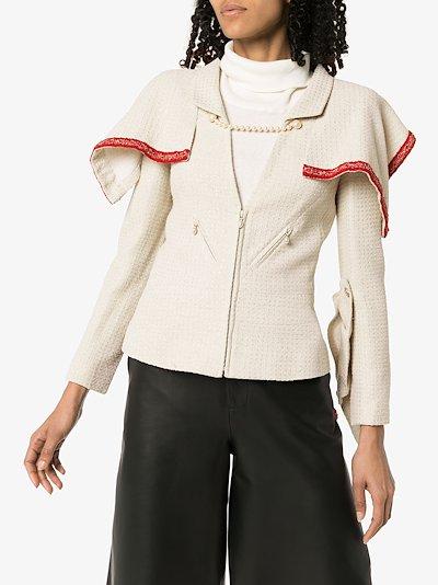reworked vintage Chanel capelet ruffle tweed jacket