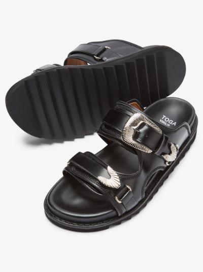 black polido leather sandals