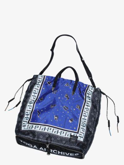 X Porter-Yoshida & Co. Blue Printed Packable Tote Bag