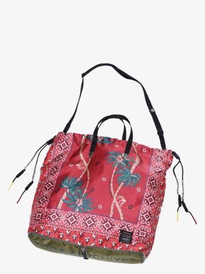 X Porter-Yoshida & Co. red  printed packable tote bag