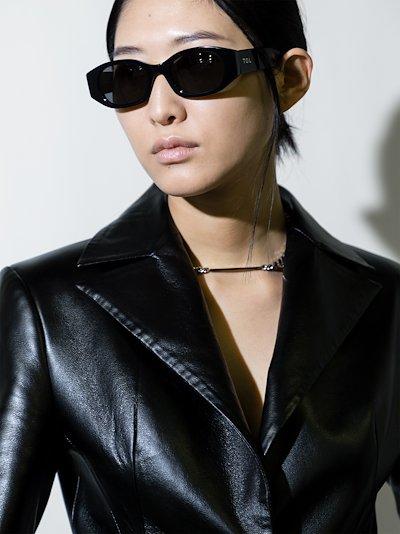 black Oblong oval sunglasses