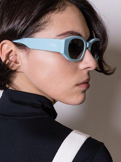 blue oblong oval sunglasses