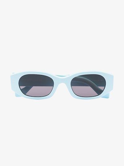 blue oblong round sunglasses