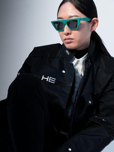 green Trapezium cat eye sunglasses