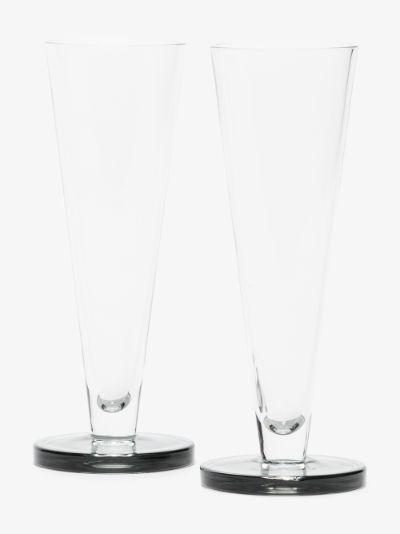 grey Puck flute glasses set
