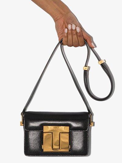black 001 small leather shoulder bag