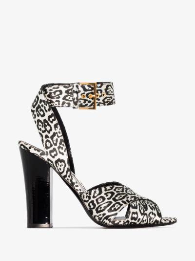 black and white 105 leopard print velvet sandals