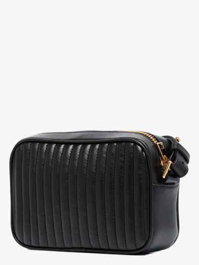 black leather camera bag