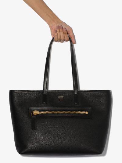 black leather zip tote bag