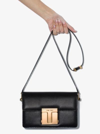 black logo plaque shoulder bag