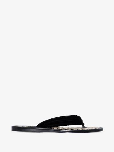 black printed velvet sandals