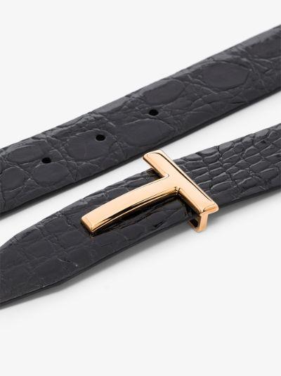 Black Reversible Mock Croc Leather Belt
