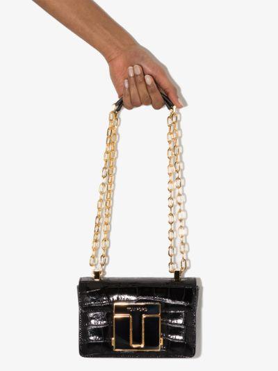 Black Small 001 mock croc shoulder bag