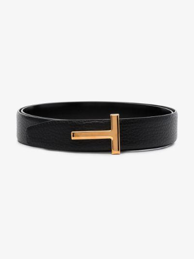 Black T Logo Grained Leather Belt