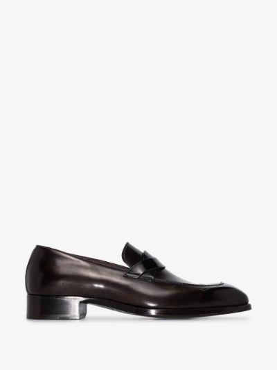 Brown Elkan Leather Loafers