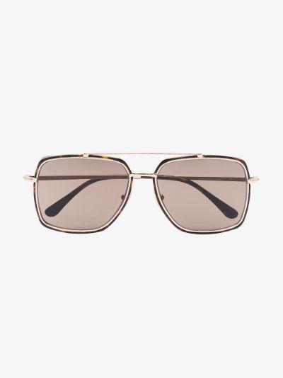 brown lionel tortoiseshell square sunglasses
