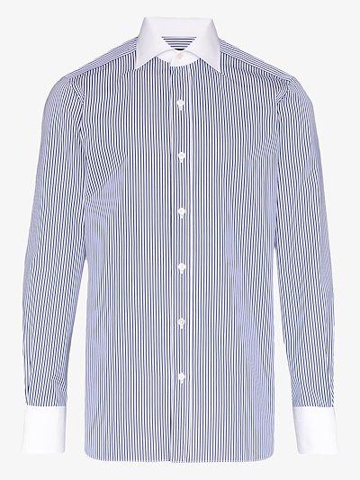 contrast collar button-down shirt