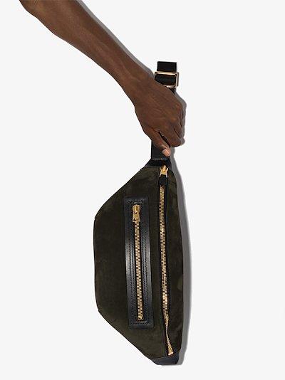 Green suede cross body bag