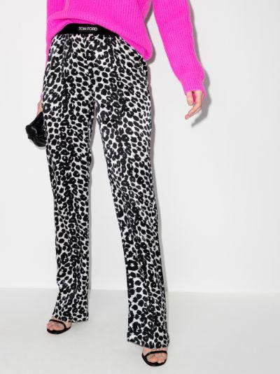 leopard print silk trousers
