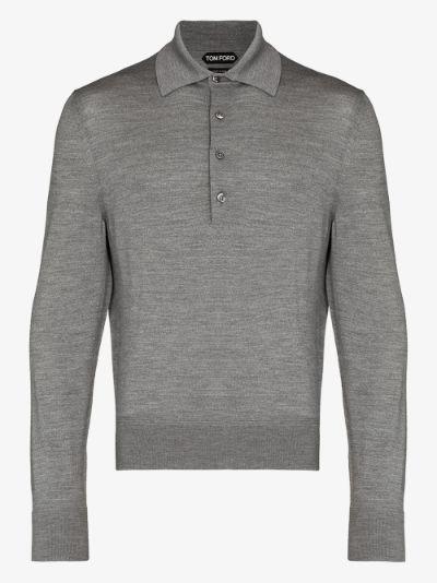 long sleeve wool polo shirt
