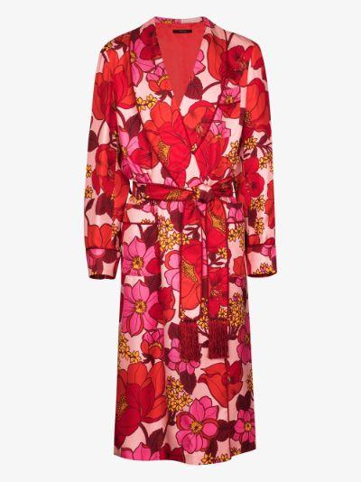 retro floral print silk robe