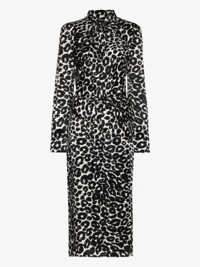 tie neck leopard print midi dress