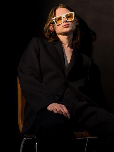 white fausto square sunglasses
