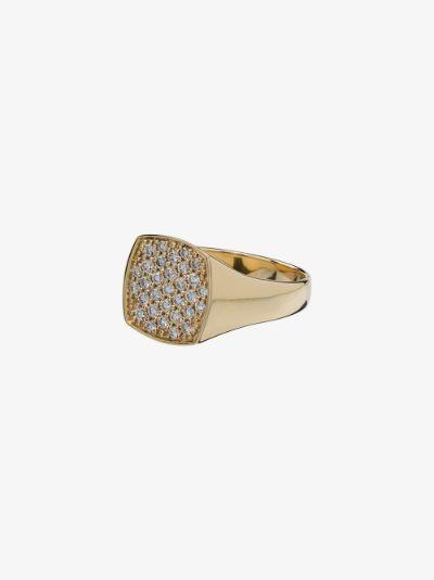 9K yellow gold Mini Cushion diamond ring