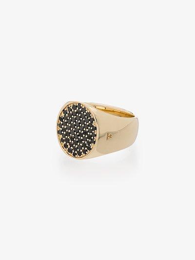 9K yellow gold Pinkie Oval black diamond ring