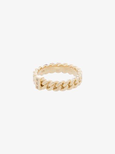 9K yellow gold slim chain diamond ring
