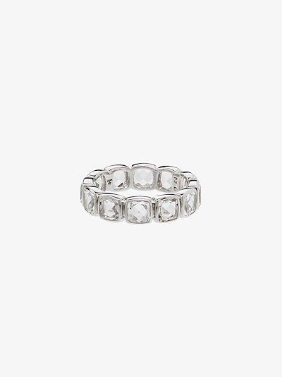 sterling silver Cushion Band Rock Crystal ring