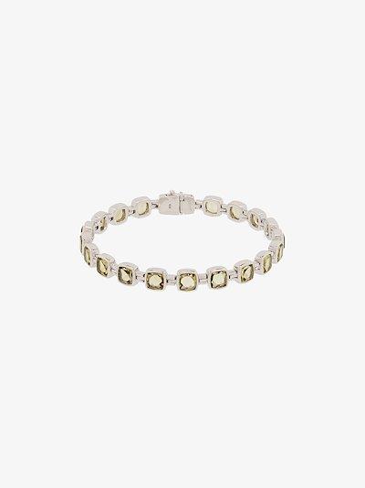 sterling silver Cushion olive quartz bracelet