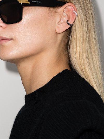 sterling silver slim crystal ear cuff