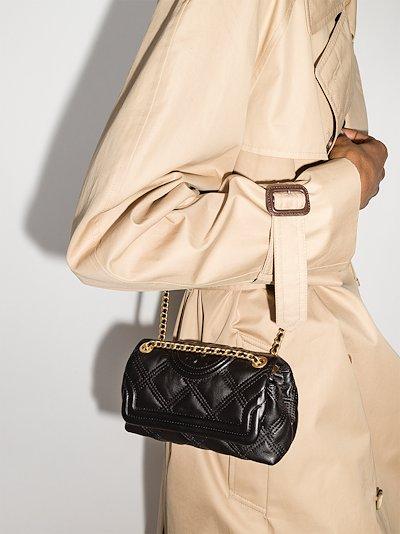 black Fleming mini quilted leather shoulder bag