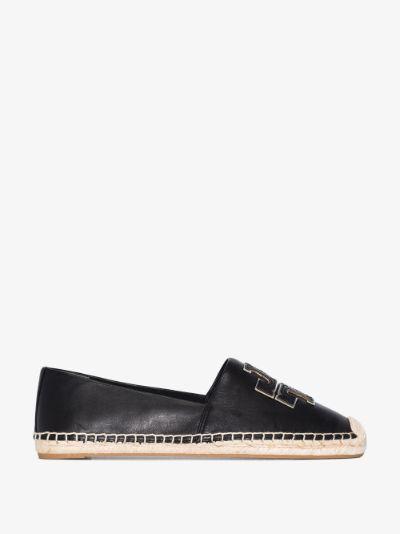 black Ines flat leather espadrilles