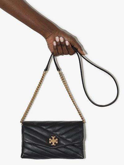 black kira chevron leather chain wallet