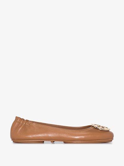 brown Minnie travel ballet pumps