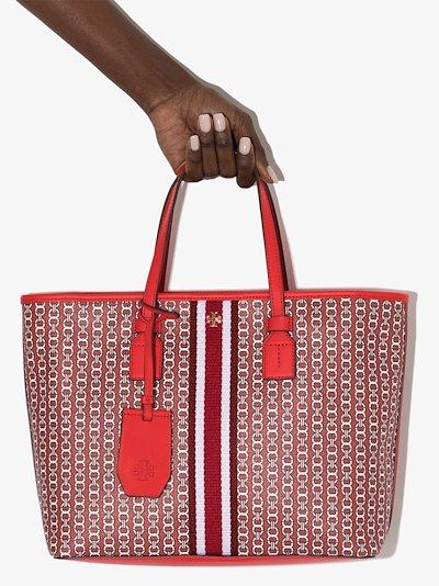 red Gemini link print tote bag