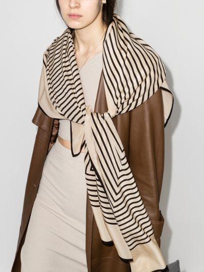 black and cream Venezia striped silk scarf