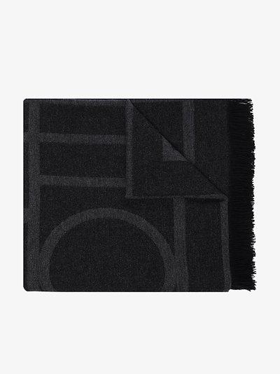 black Como monogram scarf