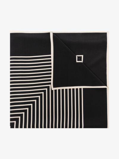 black Venezia striped silk scarf