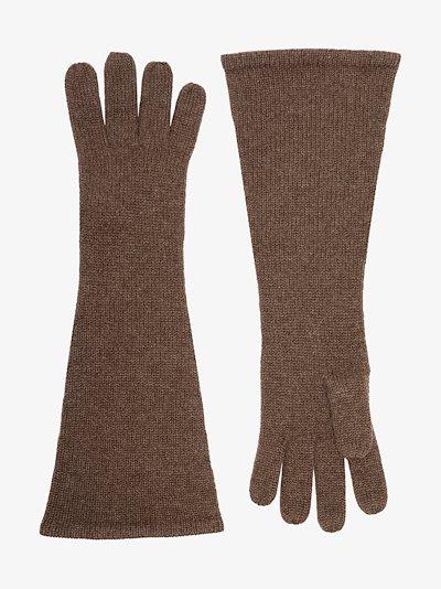 Brown cashmere gloves