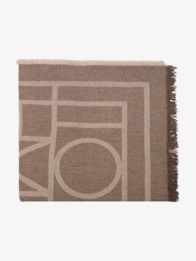 brown Como monogram knit scarf